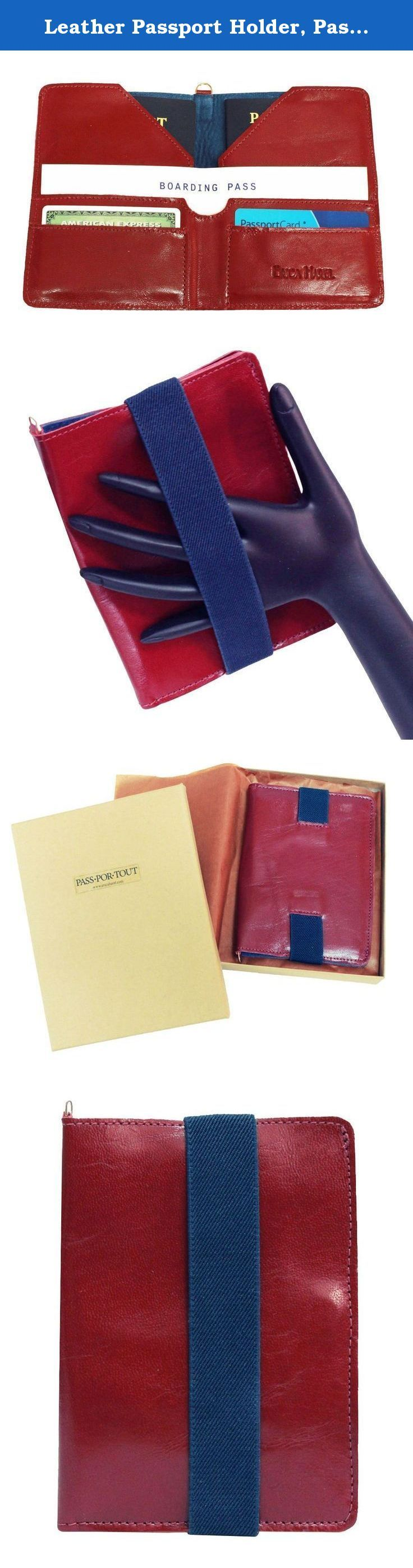 Leather Passport Holder, Passport Wallet, Passport Cover, Passport Case. Holds 2 Passports, Boarding Pass, and Cards • Premium Italian burgundy leather with dark blue leather interior • Attach to your carry-on or handbag, or wear it like a clutch. • Fits at least 2 passports • Cross-wise pocket protects your boarding pass • 2 card slots • Elastic strap closure • Hidden magnet closure • Metal D-ring for attaching to handbag or carry-on • Gift boxed with gift card Also available in Black...
