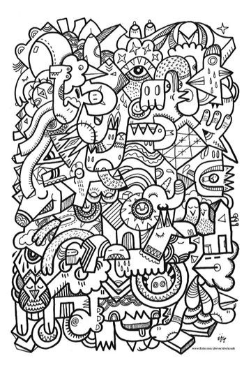 Crazy Faces Coloring Page