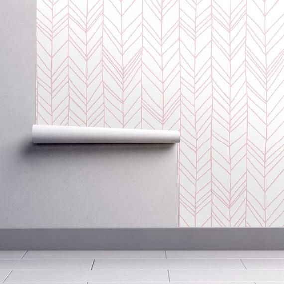 Featherland Pink Large Designed By Leanne Available Custom Printed Onto Your Choice Of Spoonflo Chevron Wallpaper Pink Accent Walls Self Adhesive Wallpaper