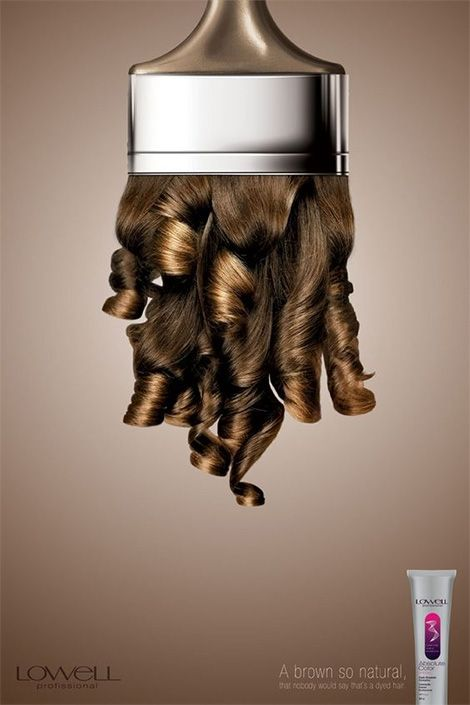 Creative advertising representing a hair colour product.