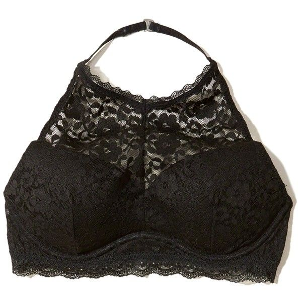 Hollister Push-Up High-Neck Bralette (445 EGP) ❤ liked on Polyvore featuring intimates, bras, black, lace underwire bra, lace push up bra, bralette bras, halter tops and lace halter top