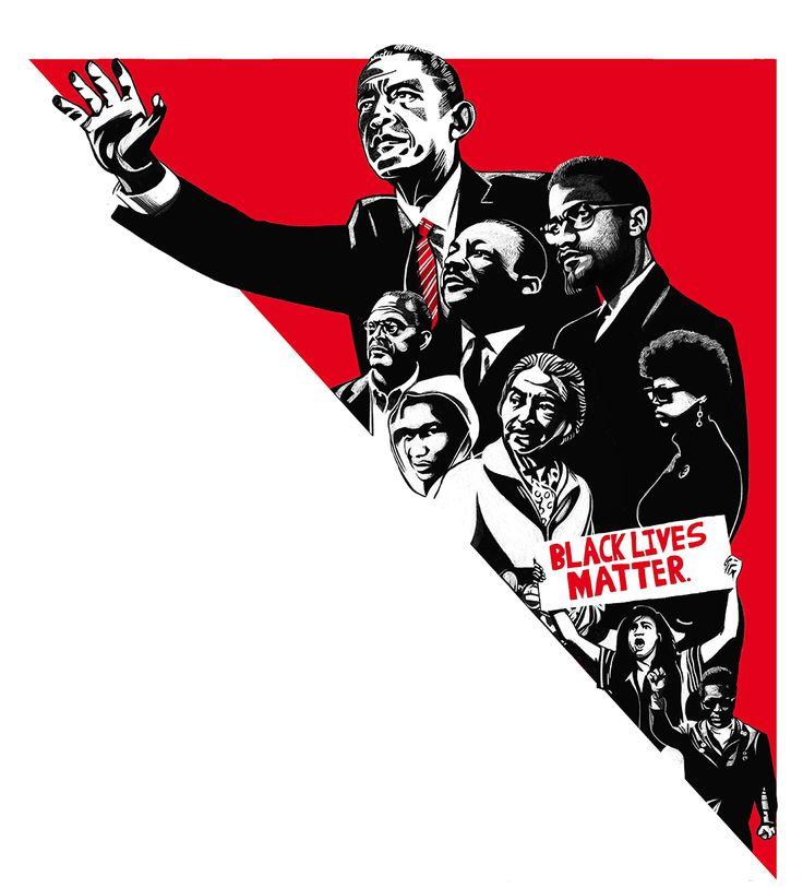 Equal Rights History, for Die Zeit - chosen for AI-AP 36 online @ Ivan Canu, #civilrights #Obama #MalcolmX #King #Parks #Trayvon #Blacklivesmatter #Blackpanthers #editorial #portraits #black&white #ivancanu salzmanart.com