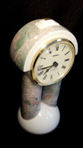 Mint-Rare-Novelty-Vintage-Czech-Porcelain-Mantel-Staiger-Clock-Duo-Thun-Studio