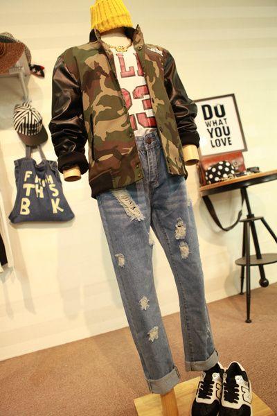 2014 осенний ветер Harajuku стиль камуфляж куртка случайные колледжа бейсбол шить PU кожа полупальто одежда для мужчин и женщин пары - таоба ...