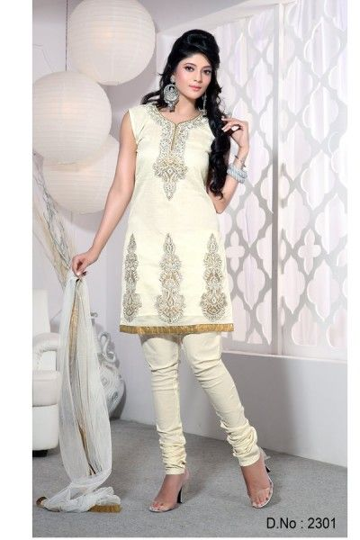 Cream Chanderi Silk #Salwar #Kameez with Patch Work and Lace Work - Rs - 3,449.