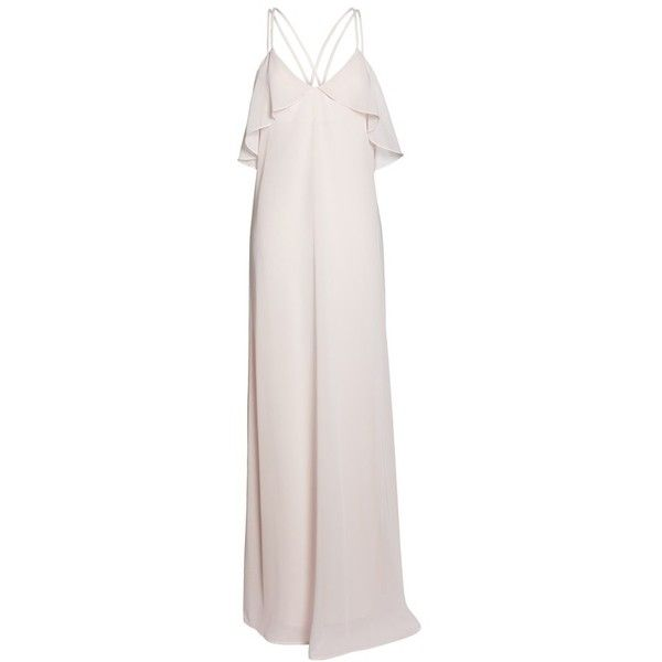 Women's Nouvelle Amsale Avery Strappy Ruffle V-Neck Gown ($200) ❤ liked on Polyvore featuring dresses, gowns, chiffon dresses, pink evening dress, chiffon gowns, pink dress and ruffle dress