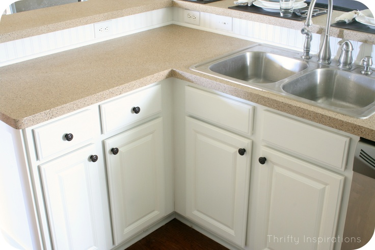 } - countertops spay painted with Rustoleum kit called Desert Sand ...