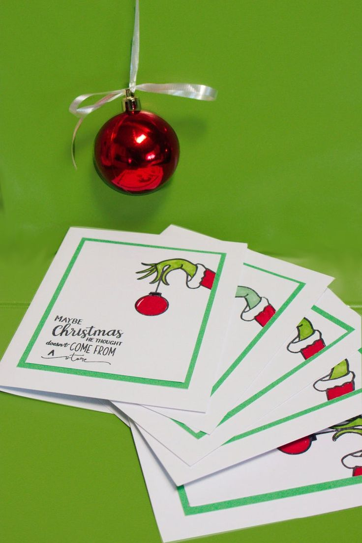 Grinch Card Grinch NoteCard Grinch Card Set Etsy in 2020