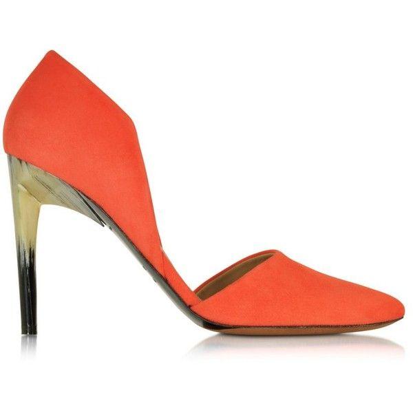 Proenza Schouler Designer Shoes Orange Suede Pump (9 175 ZAR) ❤ liked on Polyvore featuring shoes, pumps, orange high heel pumps, suede shoes, suede pumps, pointed toe high heel pumps and d'orsay pumps