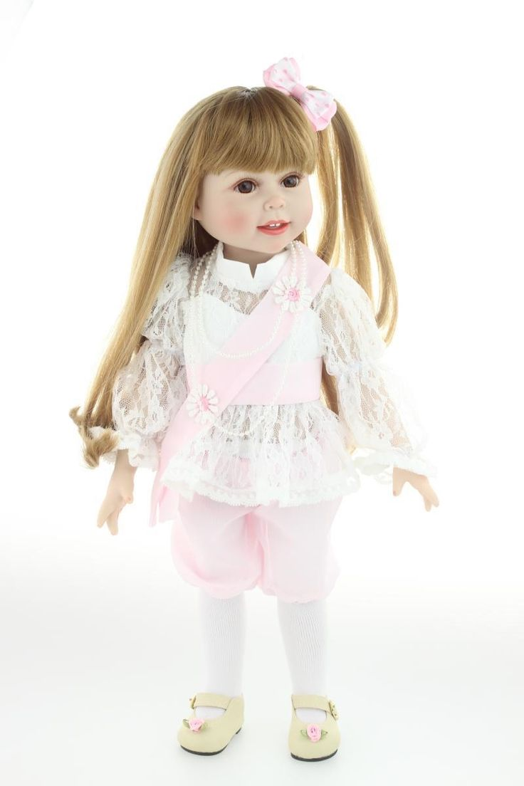(52.10$)  Watch more here - http://aissv.worlditems.win/all/product.php?id=32376562242 - 18'' 45CM AMERICAN PRINCESS girl dolls for sale Brown Long hair lace dress Beauty Girl Reborn Vinyl newborn baby dolls for girls