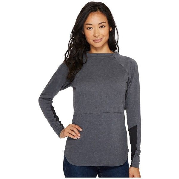 adidas Outdoor Climb The City Wool Crew (Grey Five) Women's Long... ($69) ❤ liked on Polyvore featuring tops, grey top, long sleeve stretch top, adidas, logo top and adidas pullover