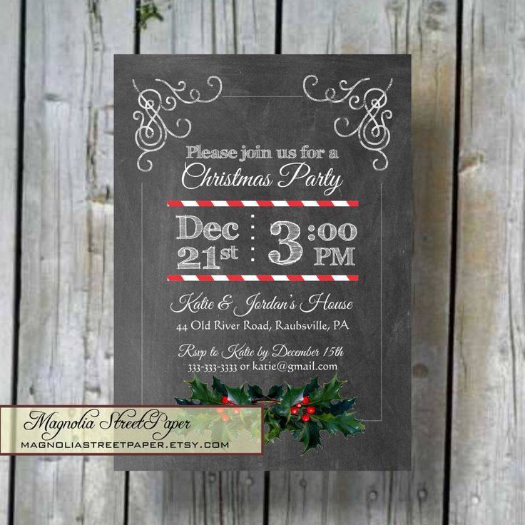 Printable Christmas Party Invitation, Custom Printable Chalkboard Holiday Invite, DIY Christmas Invitation by magnoliastreetpaper on Etsy https://www.etsy.com/listing/207290321/printable-christmas-party-invitation