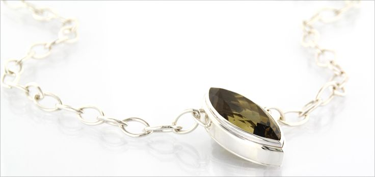SMOKY-GLAM* handmade necklace in polished silver, faceted navette shaped smoky quarz