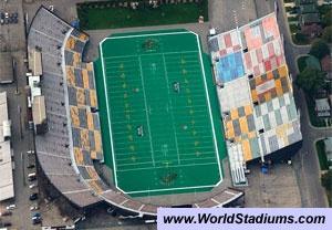 Ivor Wynne Stadium in Hamilton - old north stands paint