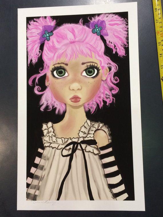 Big eyed girl fine art Giclée print framed by majikalwhispers