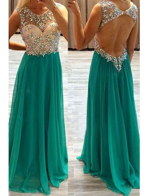 A-line+Scoop+Floor-length+Chiffon+Prom+Dresses/Evening+Dresses+#SP7311