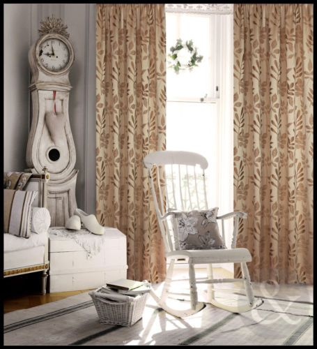 Thermal Blackout Jacquard Curtains - Gold Brown Luxury Pencil Pleat Curtain Pair in Home, Furniture & DIY | eBay