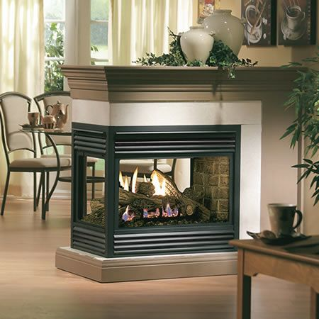 Kingsman Direct Vent Peninsula Fireplace | WoodlandDirect.com: Indoor Fireplaces: Gas, $2833   If possible, love the idea of having a gas fireplace that can be inserted into a wall dividing two rooms or inserted into a corner; see it on tons of HGTV shows.