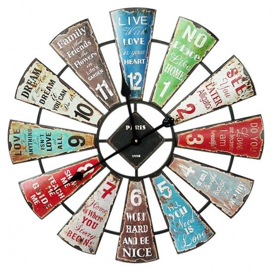Large Round Industrial 60cm Inspirational Wall Clock - Wall Clocks - Lifestyle Lane