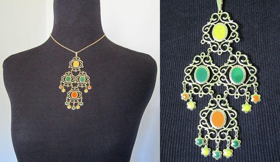 """Vintage 60s Hippie Boho Gold Tone Necklace with Yellow, Green & Orange Accents Ethnic Tribal 2"""" x 4"""" Drop/Dangle Necklace 15"""" Long"""
