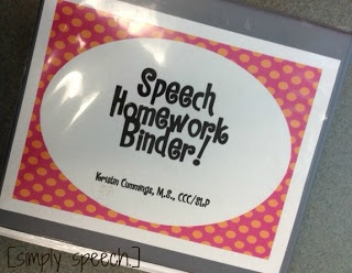 Speech therapy homework ideas!