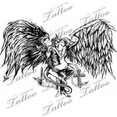 Marketplace Tattoo Good Vs. Evil #136 | CreateMyTattoo.com