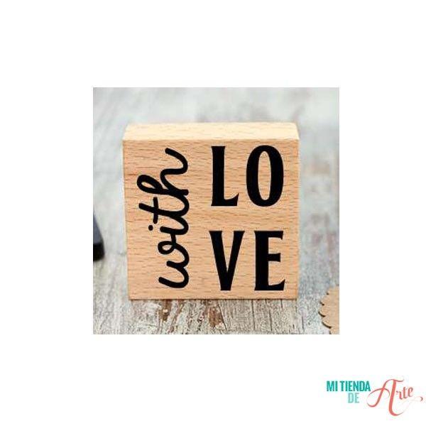 Sello de madera With Love. Todo lo que necesitas para scrapbooking y manualidades en mitiendadearte.com