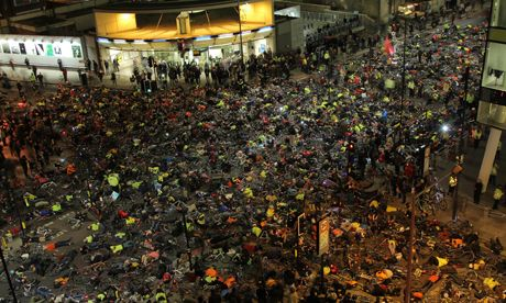 Over 1,000 cyclists staged a Die-In on the road outside Transport for London's offices. Photograph: Rory Jackson/Stop Killing Cyclists
