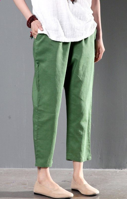 Green linen summer pants plus size women crop pants trousers