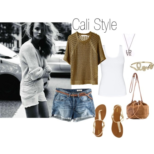 Cali Style   Created by indiavintage  #Shorts #Style #Tank Top