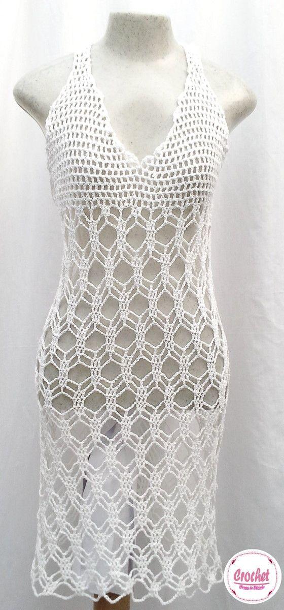 """Lindo vestido branco em crochê, ... super na moda <br>Sob encomenda todas as cores e tamanhos <br>EXCLUSIVIDADE MIMOS DE SILVINHA <br> """"Esse preço é para tamanhos P M G <br>Tamanho GG ou 46 tem 15% de acréscimo <br> <br>Faça seu pedido e forneça suas medidas!!!"""