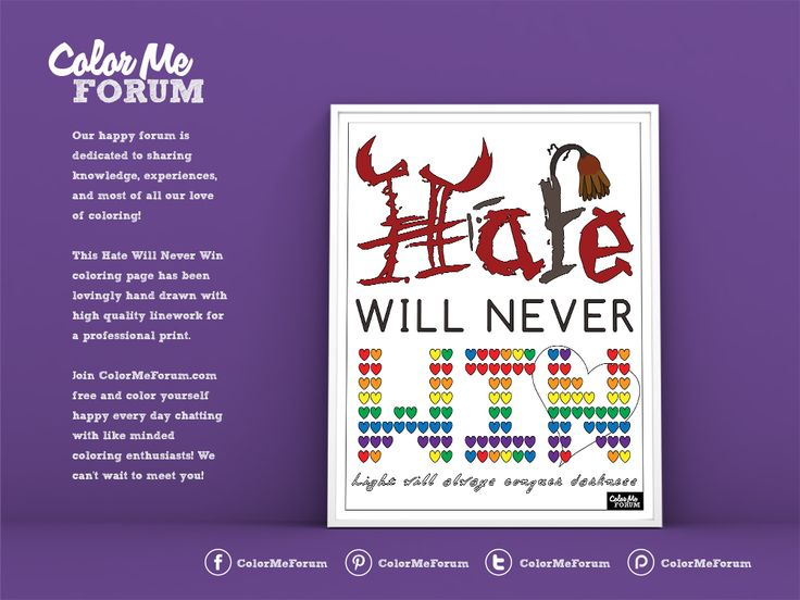 New Coloring Page: Hate Will Never Win! - Color Me Announcements - Color Me…