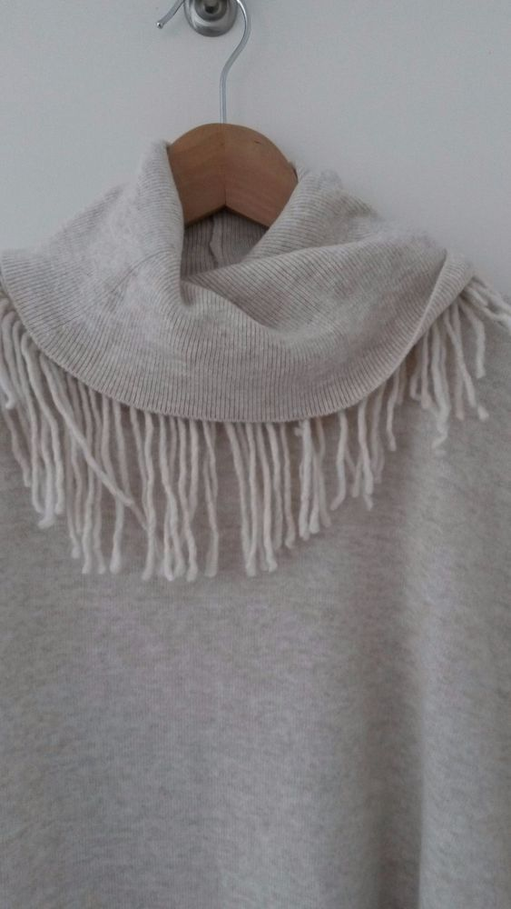 River Island Cream Neutral Batwing Jumper with Roll Neck & Fringing Detail Small