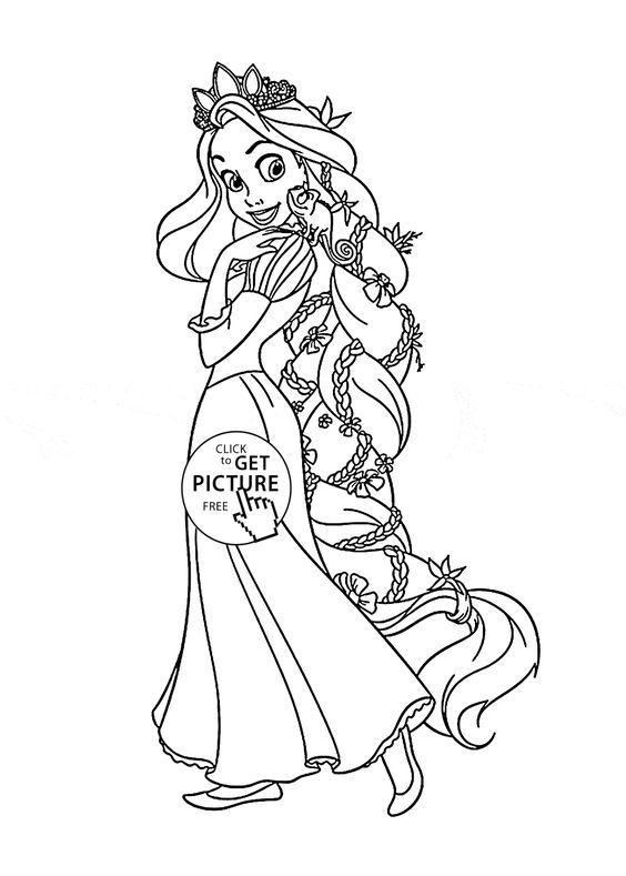 Tangled Rapunzel coloring page for kids, disney princess coloring pages printables free - Wuppsy.com