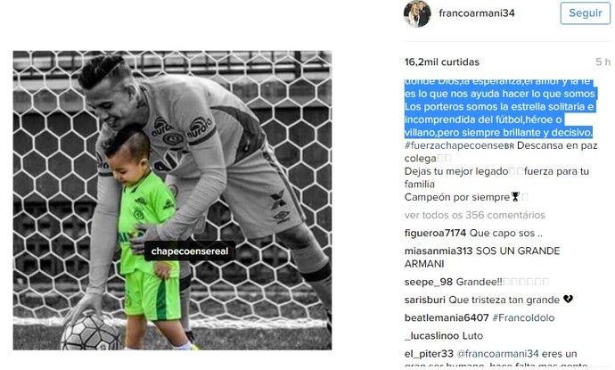 Armani, goleiro do Atlético Nacional, posta homenagem a Danilo (Foto: Reprodução/Instagram)