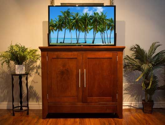 The Florence TV Lift Cabinet by Morphbotics  Functional Storage, space will never be a thought again  Hand Crafted to Perfection with the Highest Quality Wood. Variety of stain options to choose from