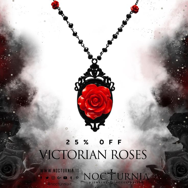 "Find our ""VICTORIAN ROSES"" 25% OFF only on our shop. Click here http://bit.ly/victorianrosesnecklace Worldwide Shipping #nocturniait #blacksummersale"