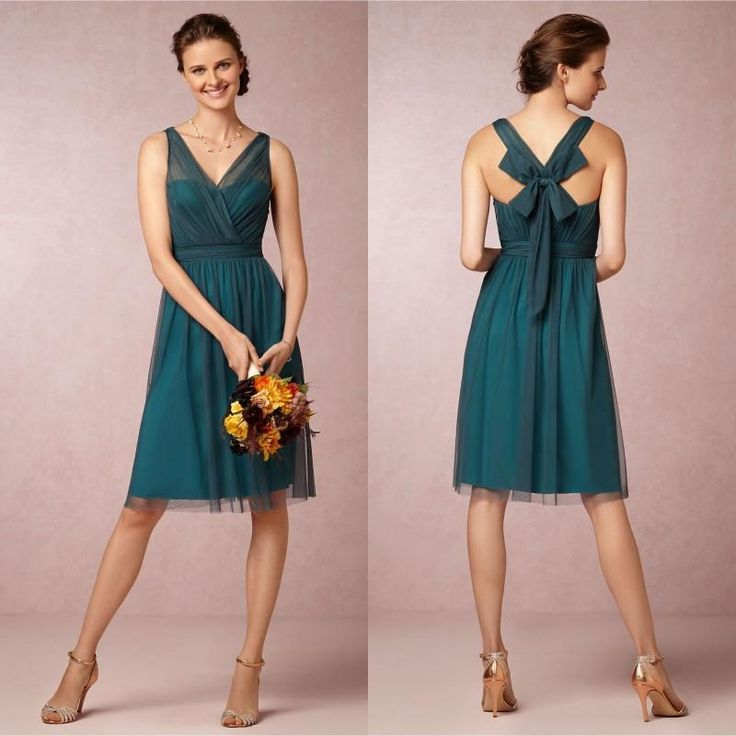 A Line V Neck Knee Length Teal Color Bridesmaid Dresses 2015 Short VintageTulle Satin Bow Cocktail Party Gowns, $74.34 | DHgate.com