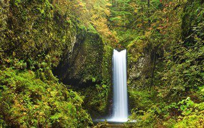 壁紙をダウンロードする ロック, パーク, 美しい滝, 滝, 米国, multnomahの滝, オレゴン州