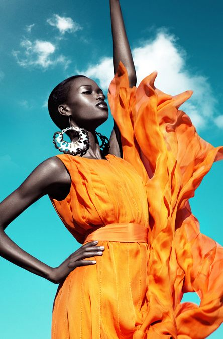 _Simone-by-Franziska-Nettel  Beautiful black models, orange dress.
