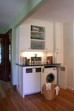 Laundry Room Hidden in Kitchen Cabinets - perfect for small spaces