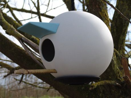 Birdplace is a modern porcelain birdhouse that can be disassembled