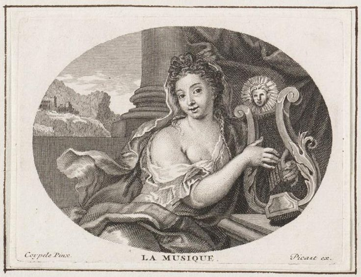 #music Personificatie: De Muziek by artists Antoine Coypel (1661-1722) & Bernard Picart (1673 - 1733)