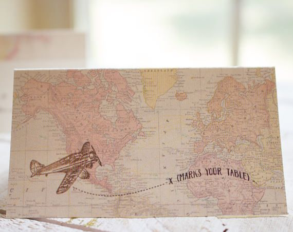PRINTABLE vintage aviation place card template - print your own - airplane place cards - destination wedding - instant download -