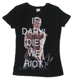 The Walking Dead is one of the most popular shows on television. It is  based on the comic book series of the same name. The plot revolves  around a group of humans trying to survive in a post-apocalyptic world  dominated by flesh eating walkers. Don't call them zombies. The living  dead are the survivors not the walkers.This shirt depicts Daryl Dixon, a  popular character, with his crossbow ready to read shot a bolt through a  zombies eyeball