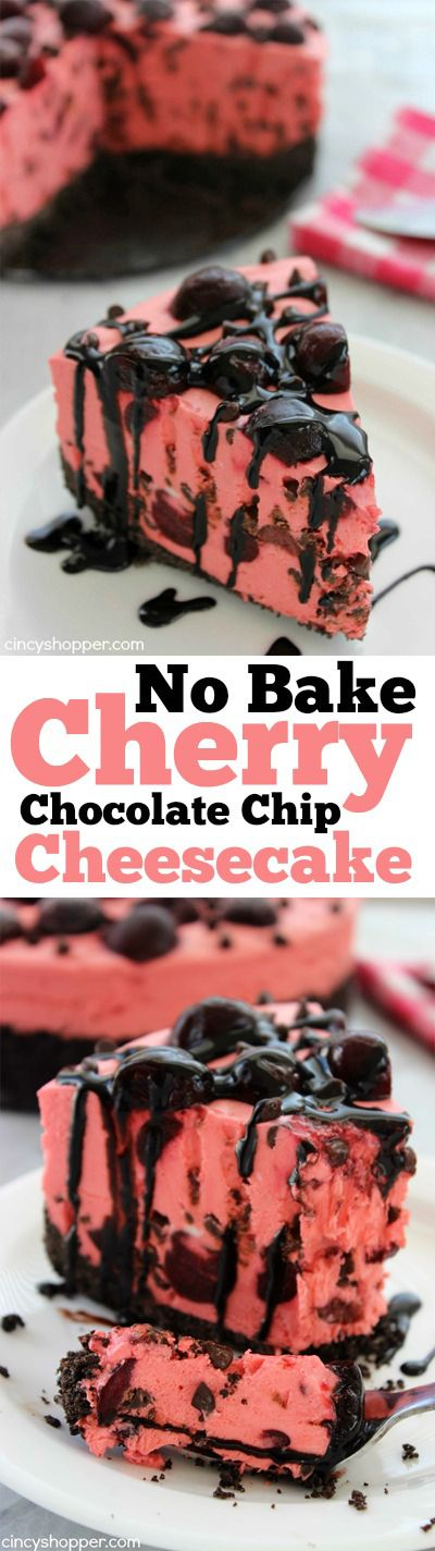 No Bake Cherry Chocolate Chip Cheesecake - Super simple no bake dessert. Loads of cherries and chocolate chips. Perfect for summer.