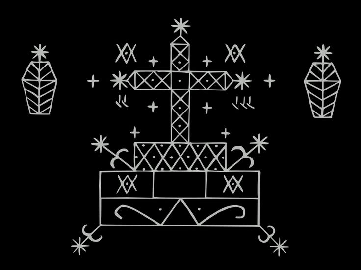 Baron Samedi's veve..or beacon. Drawing this on the ground in white cornmeal to summon him acts as a marker for him to appear.