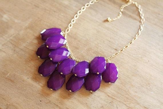 Eggplant Purple Statement Necklace