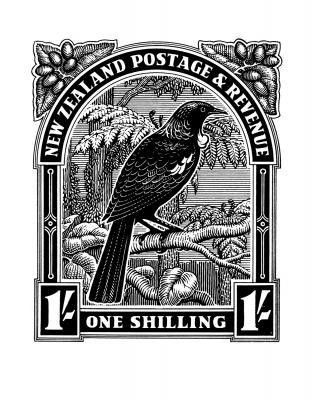 Historical NZ Stamp Print - Tui for Sale - New Zealand Art Prints - love stamps, love tuis, love nz