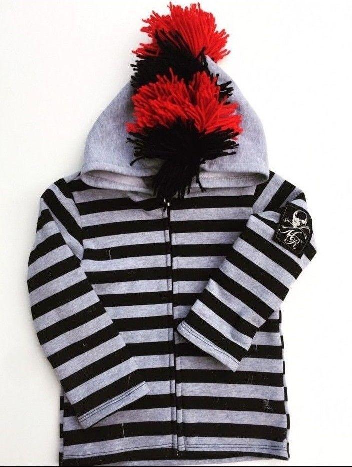MONSTER REPUBLIC boys Mohawk hoodie striped zip up size 4 #Monsterrepublic #Sweatshirt #Everyday #punk #boysmohawk #toddlermohawkhoodie #mohawksweatshirt